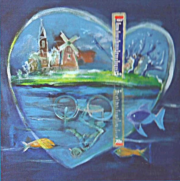 Fietsroute schilderij Aa