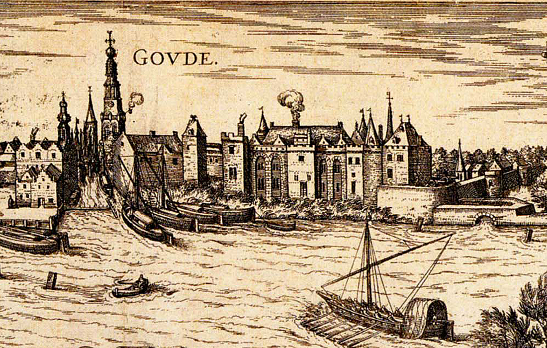 Zicht op het kasteel. Detail uit Braun en Hoogenberg circa 1580 (SAMH)